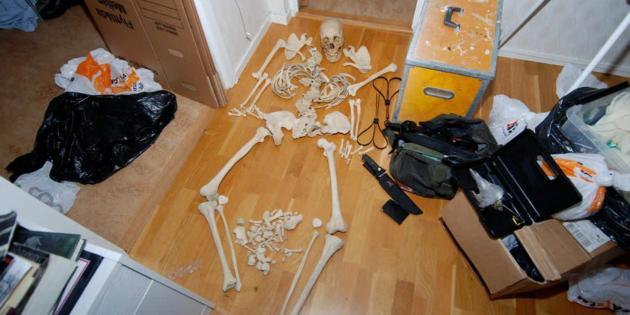 Cette photo non-datée tranmise par la police suédoise montre le squelette humain retrouvé dans l'appartement d'une femme âgée de 37 ans condamnée par la justice suédoise[- / Swedish Police/AFP/Archives]
