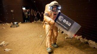 Simulation de marche martienne, crédit : ESA
