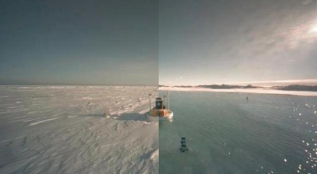 """Le """"lac"""" qui s'est formé au Pôle Nord est en réalité une petite mare mesurant quelques dizaines de mètres de largeur. Crédit North Pole Environmental Observatory."""