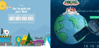 Qui gagnera la bataille des fêtes de fin d'année entre le père Noël de Google et celui de Microsoft ? (capture d'écran/montage Obs).