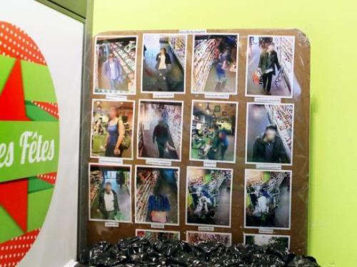 Paris (XVe), hier. Sous les photos des voleurs présumés, installés sur un tableau à l'entrée du magasin, on peut lire « vol déo + chocolat tablette 2014 », « vol chapon 2013 », « vol foie gras », « pickpocket », « vol bières », « vol lait infantile ». (LP/Yann Foreix.)