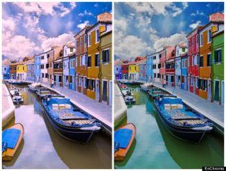 (à gauche, venise vue par un daltonien, à droite, Venise vue avec les lunettes EnChroma)