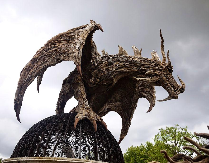 Miroir Bois Flotte Casa : Driftwood Sculpture Dragon