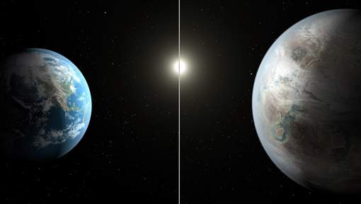 La Terre comparée à Kepler 452b (à droite) © afp.