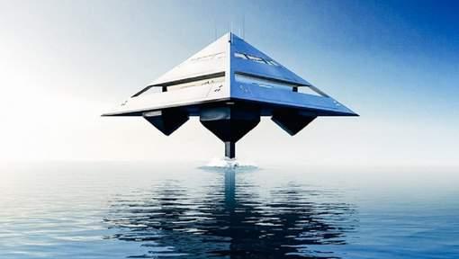 Ce yacht ultra-futuriste, venu d'une autre planète, est l'oeuvre du designer britannique Jonathan Schwinge. Et il donne l'impression de léviter au-dessus du niveau de la mer. © (Twitter).