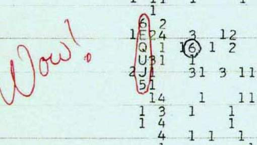 """Les données du signal """"Wow !"""", intercepté en 1977 par le télescope de l'Université de l'Ohio aux Etats-Unis. © (Twitter)."""