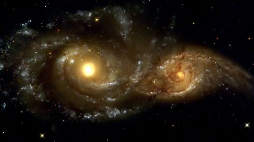 La collision des galaxies spirales NGC 2207 et IC 2163