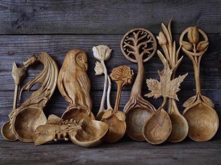 Cuillères en bois sculptés en forme d'animaux (galerie et vidéo) 1113