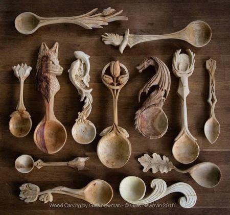Cuillères en bois sculptés en forme d'animaux (galerie et vidéo) 1410