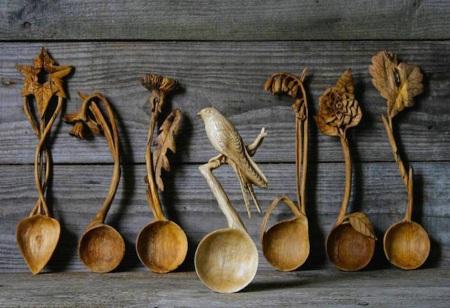 Cuillères en bois sculptés en forme d'animaux (galerie et vidéo) 155