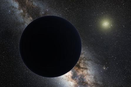 Une vue d'artiste de la supposée neuvième planète du Système solaire. Le cercle autour du Soleil symbolise l'orbite de Neptune. © Tomruen, nagualdesign cc by sa 4.0, Wikipédia