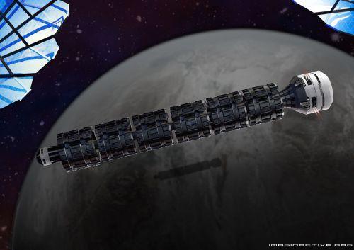 Mise en image de Boris Schwarzer du concept de train spatial Solar Express développé par Charles Bombardier, fondateur de l'« incubateur d'idées virtuelles » Imaginactive, et Olivier Péraldi. © Imaginactive