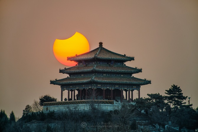 L'image du jour : Eclipse partielle sur Beijing, Chine ! (Vidéo sur Bidfoly.com) By Jack35 1-19